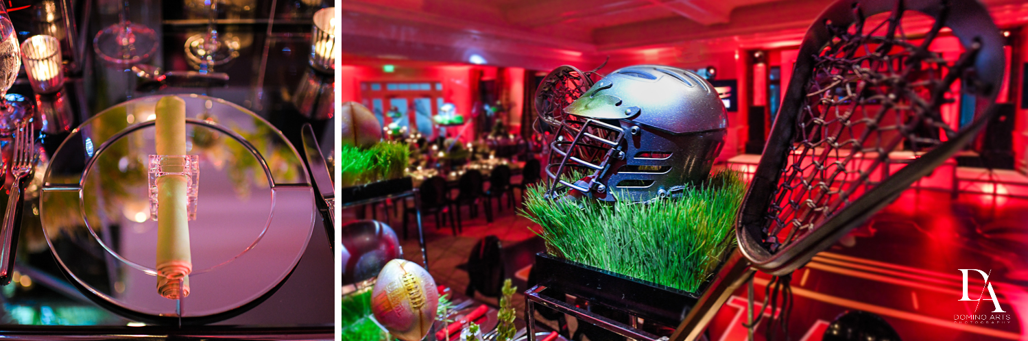 amazing decor for Football Theme Bar Mitzvah at Temple Beth El and Royal Palm Yacht Club by Domino Arts Photography