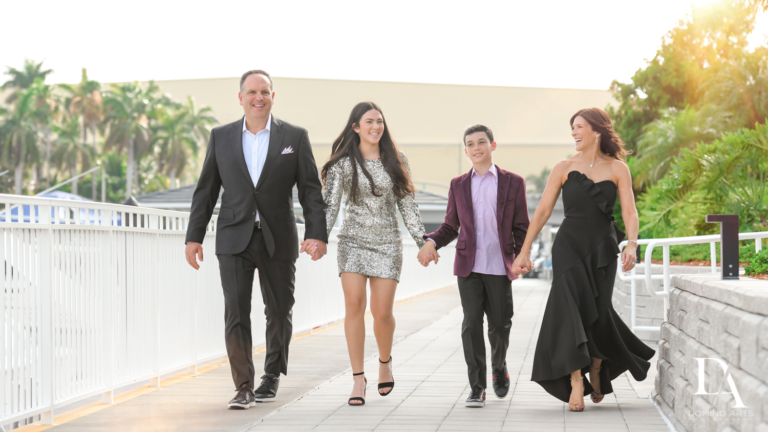 fun family pictures at Football Theme Bar Mitzvah at Temple Beth El and Royal Palm Yacht Club by Domino Arts Photography