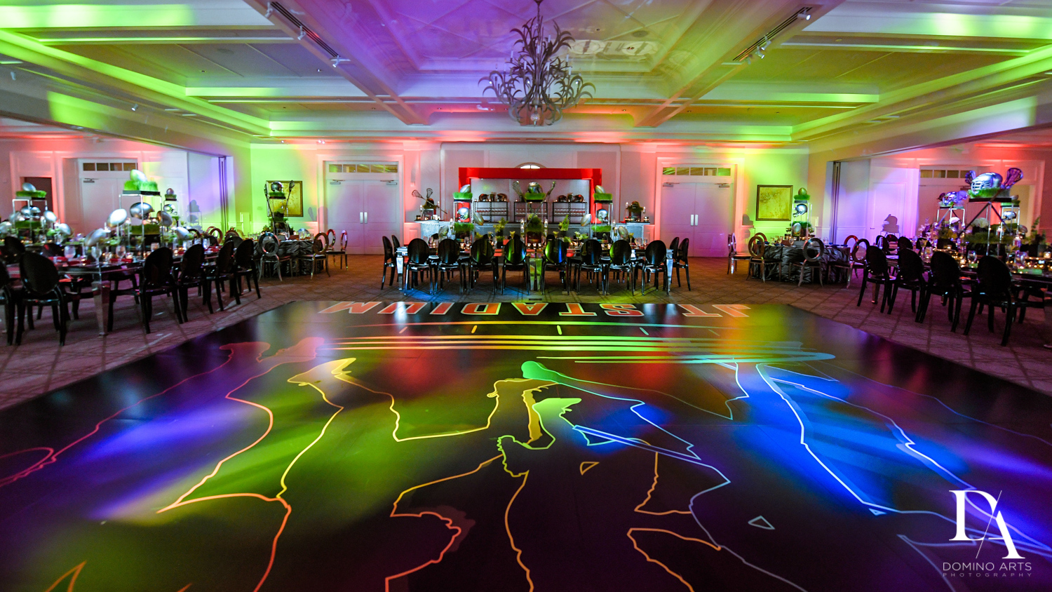 best football decor at Football Theme Bar Mitzvah at Temple Beth El and Royal Palm Yacht Club by Domino Arts Photography