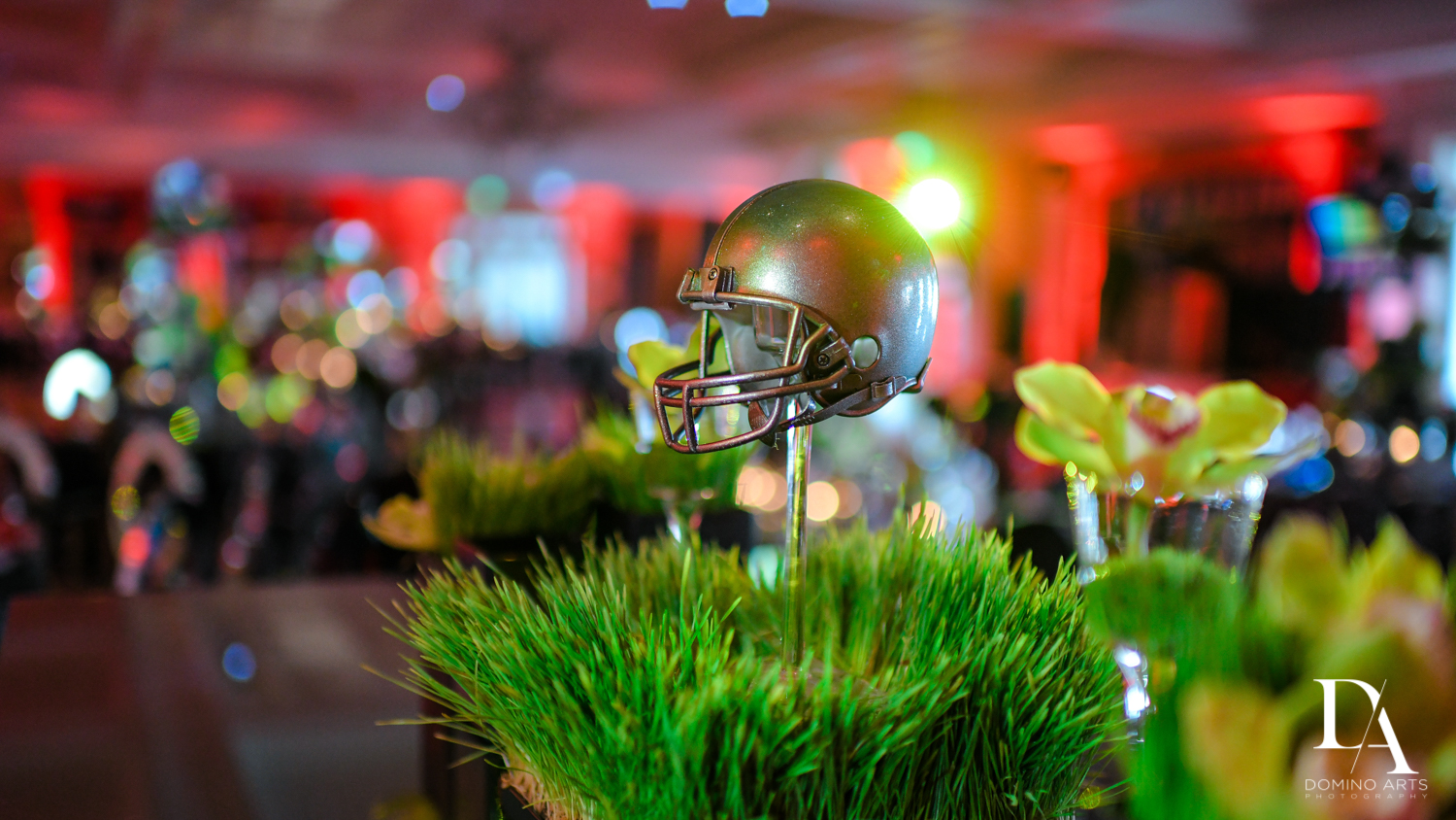 decor details at Football Theme Bar Mitzvah at Temple Beth El and Royal Palm Yacht Club by Domino Arts Photography
