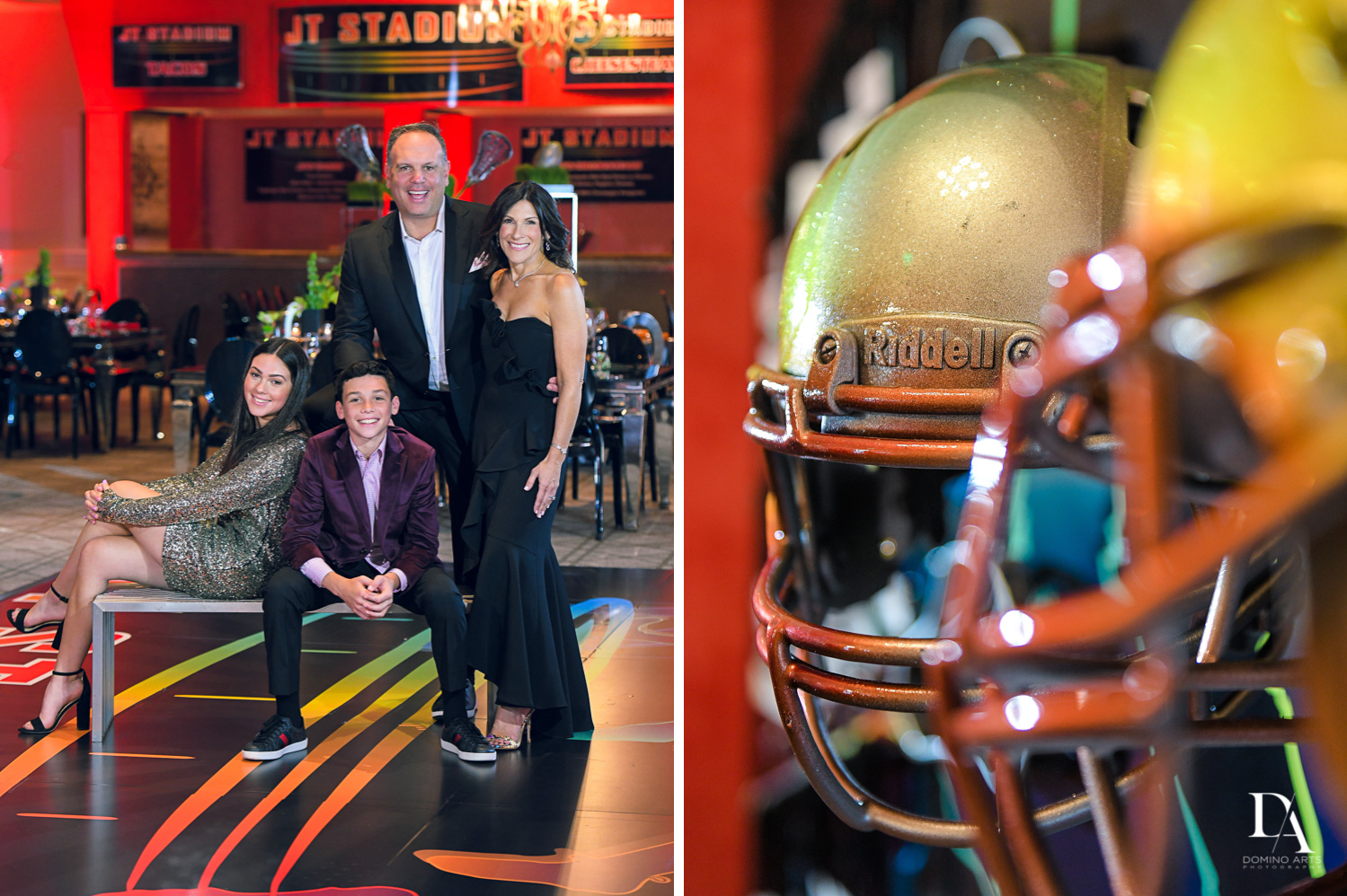 family portraits at Football Theme Bar Mitzvah at Temple Beth El and Royal Palm Yacht Club by Domino Arts Photography