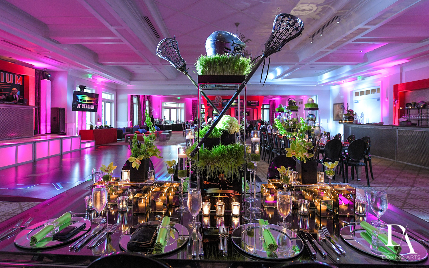 best football decor for Football Theme Bar Mitzvah at Temple Beth El and Royal Palm Yacht Club by Domino Arts Photography