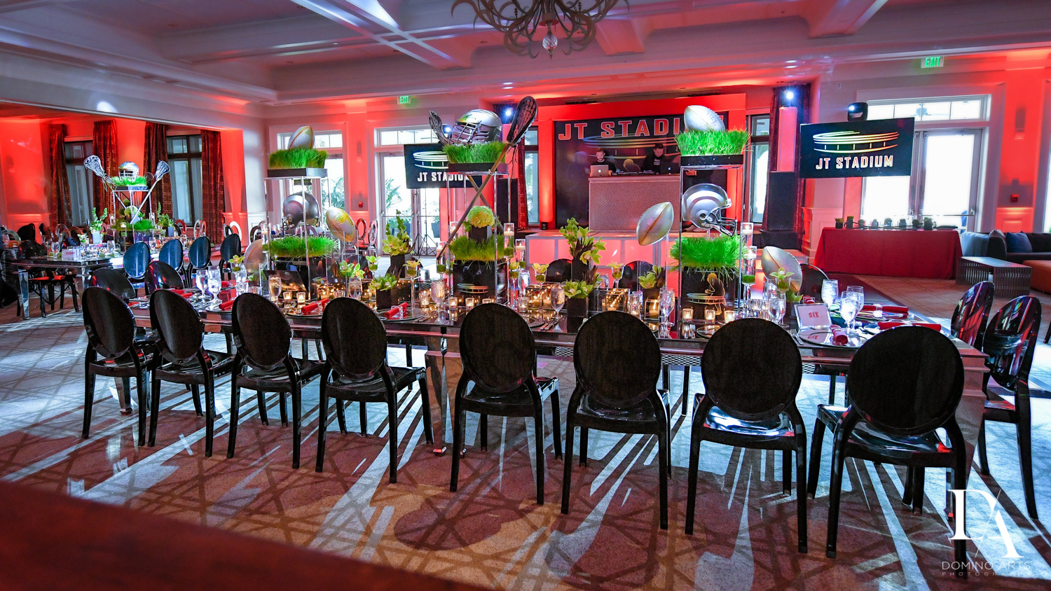 decor at Football Theme Bar Mitzvah at Temple Beth El and Royal Palm Yacht Club by Domino Arts Photography