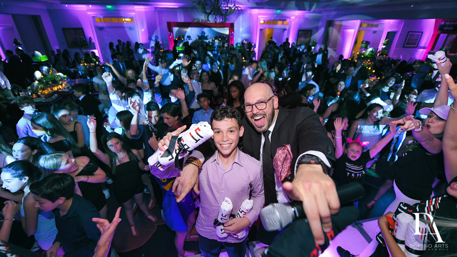 best MC at Football Theme Bar Mitzvah at Temple Beth El and Royal Palm Yacht Club by Domino Arts Photography