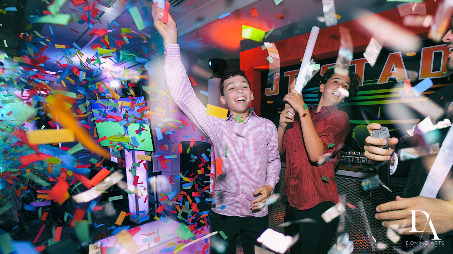 fun confetti blast at Football Theme Bar Mitzvah at Temple Beth El and Royal Palm Yacht Club by Domino Arts Photography