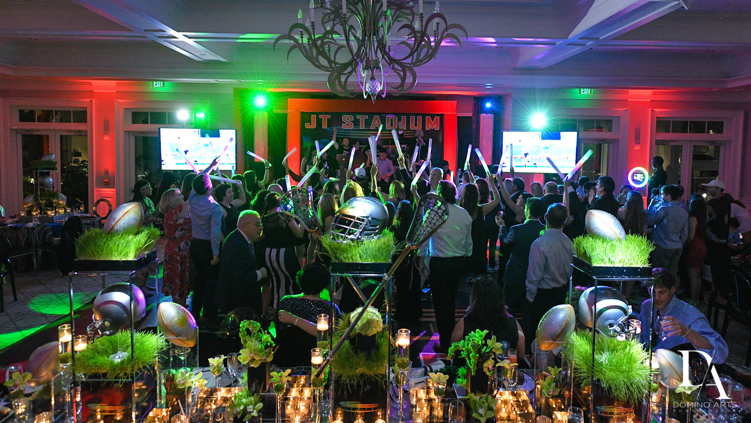 best football party at Football Theme Bar Mitzvah at Temple Beth El and Royal Palm Yacht Club by Domino Arts Photography