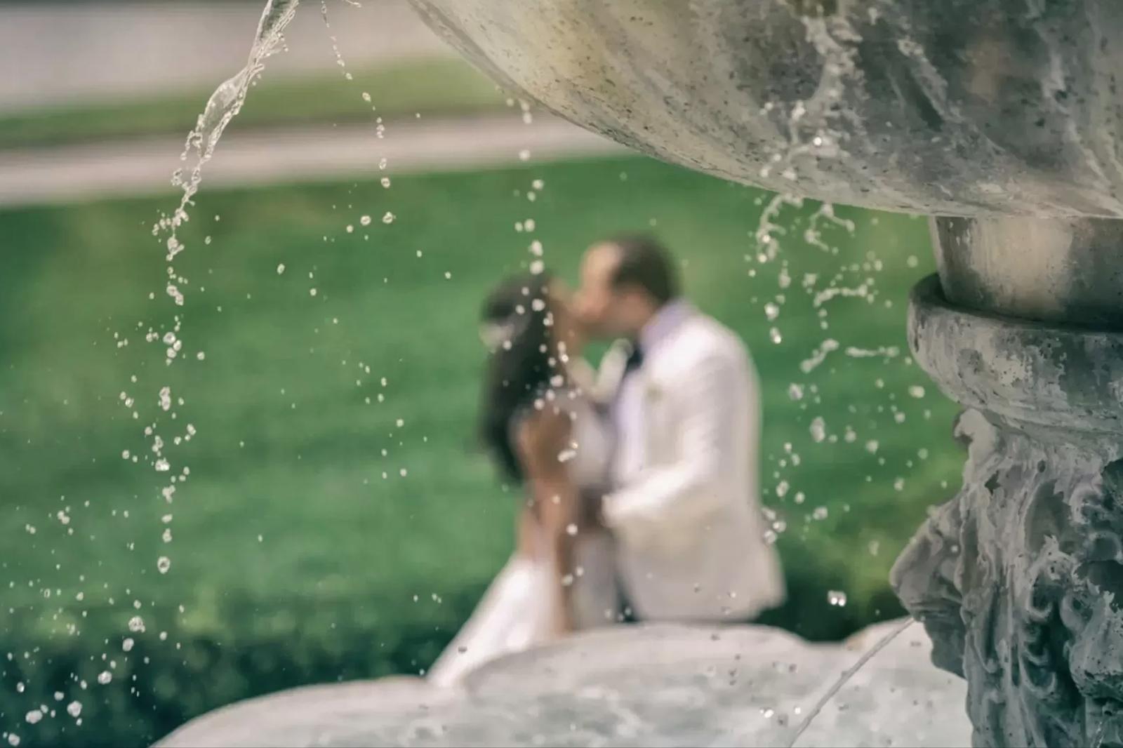 Bride and Groom kiss at Trump National Doral Miami