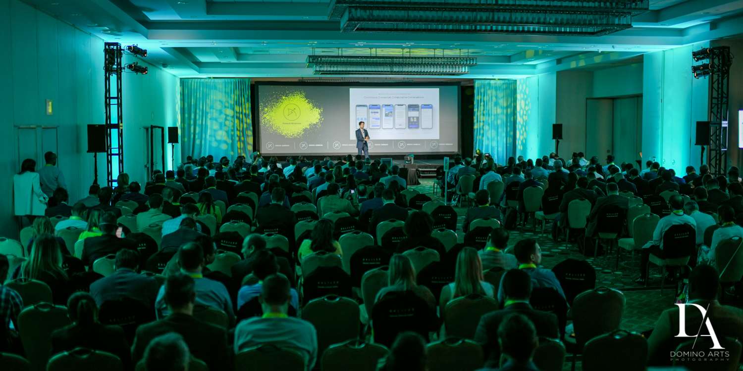 large crowd at Fintech Americas Banking Conference Miami by Domino Arts Photography