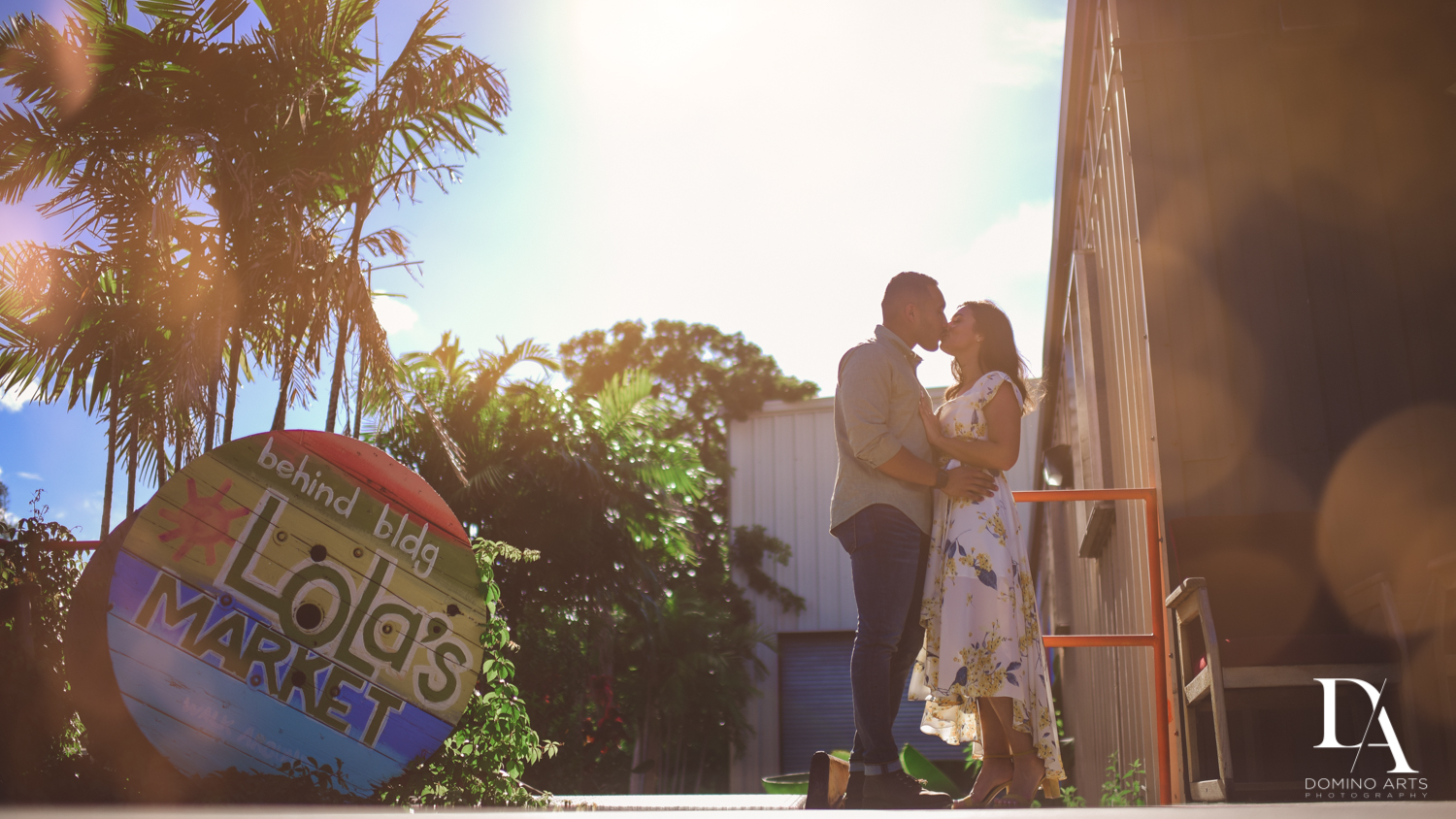 silhouette at Romantic Engagement Session at Graffiti Walls by Domino Arts Photography