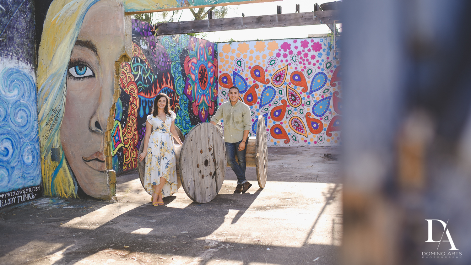 miami Romantic Engagement Session at Graffiti Walls by Domino Arts Photography