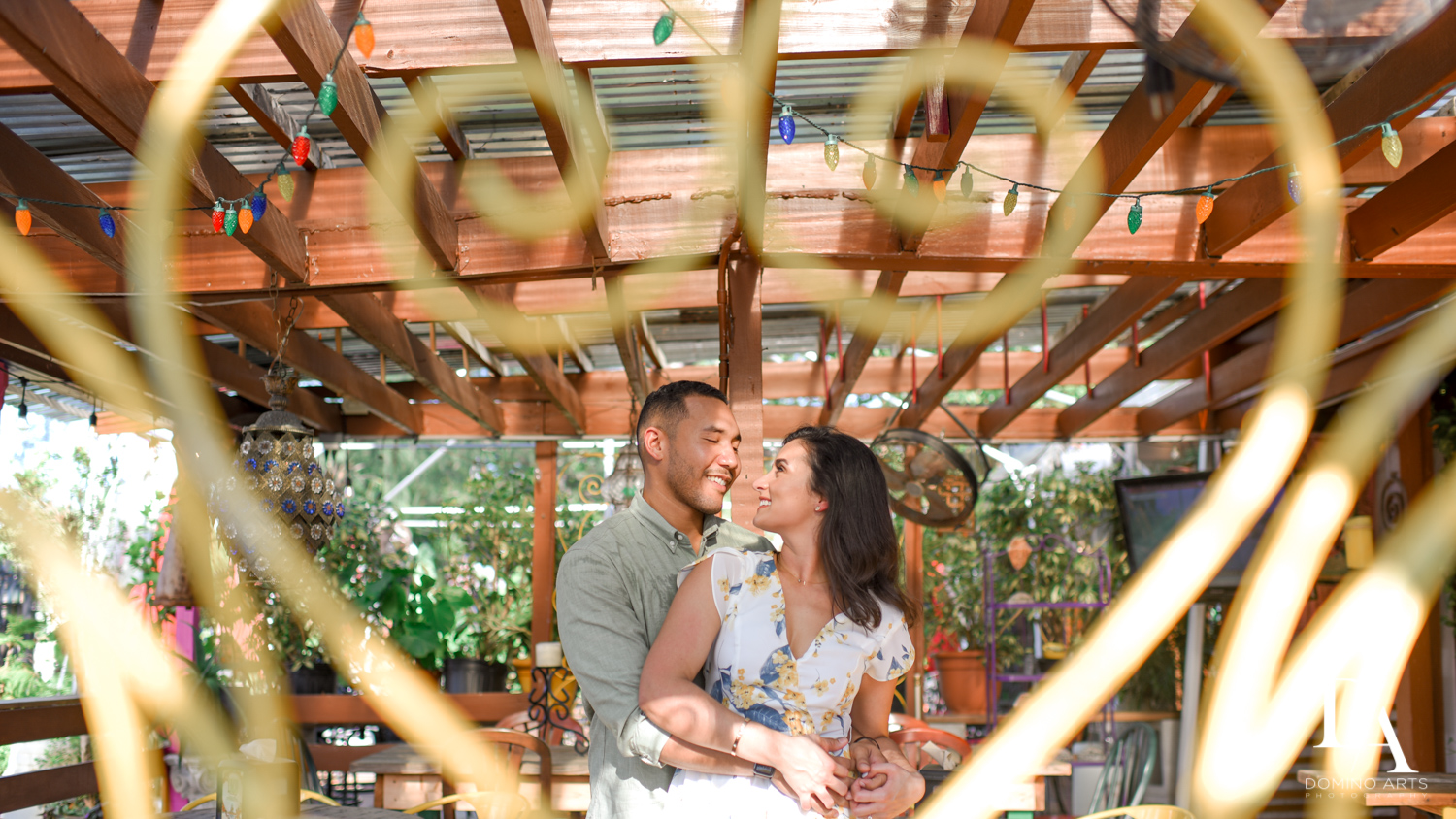 garden photos at Romantic Engagement Session at Graffiti Walls by Domino Arts Photography