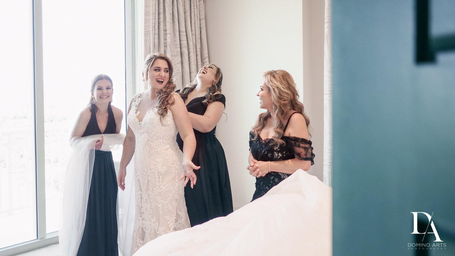 bridesmaids fun at Ultimate Events Wedding at Turnberry Isle Resort Miami by Domino Arts Photography