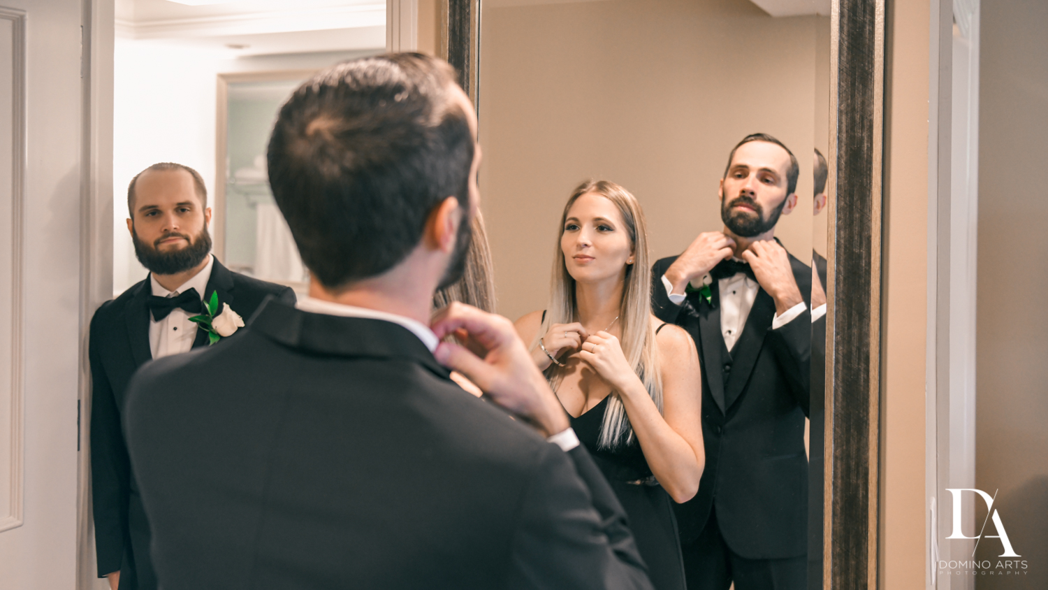 siblings getting ready at Ultimate Events Wedding at Turnberry Isle Resort Miami by Domino Arts Photography