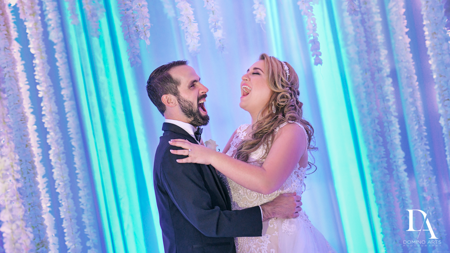 happy bride and groom at Ultimate Events Wedding at Turnberry Isle Resort Miami by Domino Arts Photography