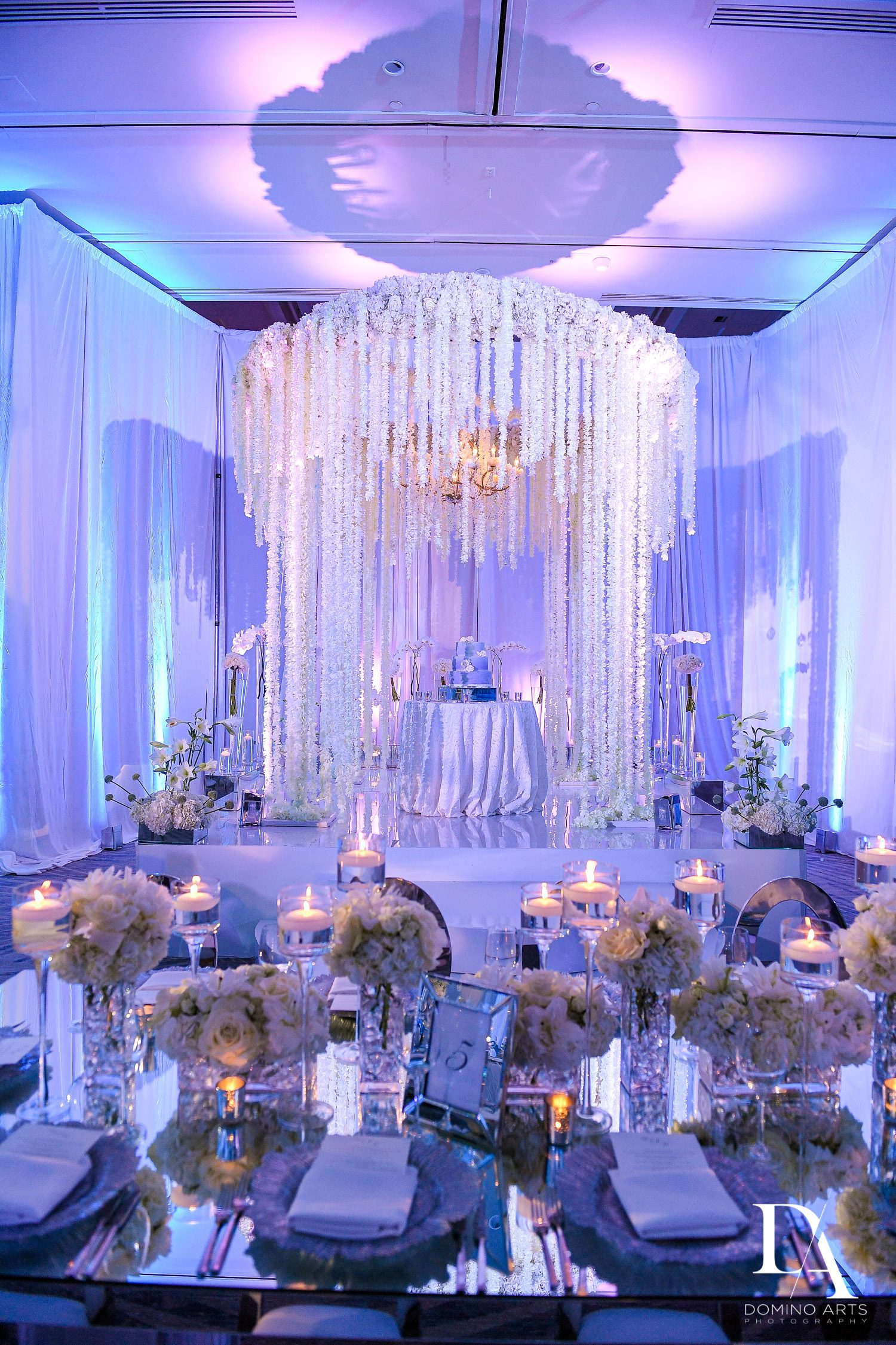 crystal and flowers at Ultimate Events Wedding at Turnberry Isle Resort Miami by Domino Arts Photography