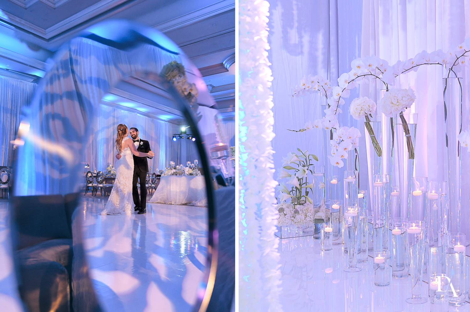 white floral decor at Ultimate Events Wedding at Turnberry Isle Resort Miami by Domino Arts Photography