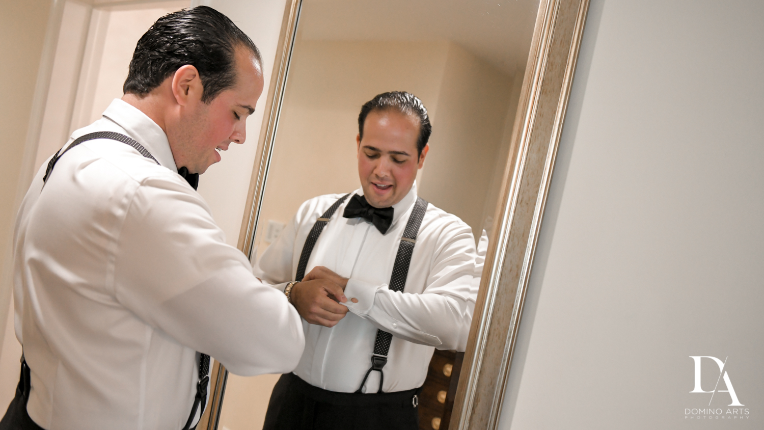 groom getting ready at Elegant Classy Wedding at Trump Doral by Domino Arts Photography