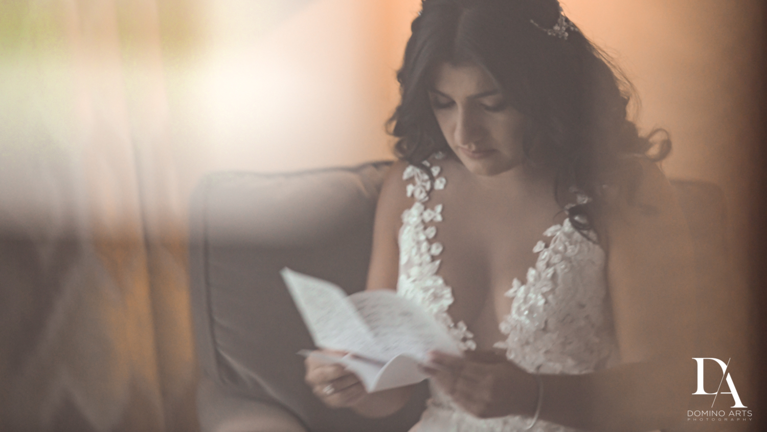 love letter to bride at Elegant Classy Wedding at Trump Doral by Domino Arts Photography