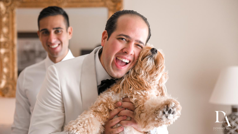 groom and dog at Elegant Classy Wedding at Trump Doral by Domino Arts Photography