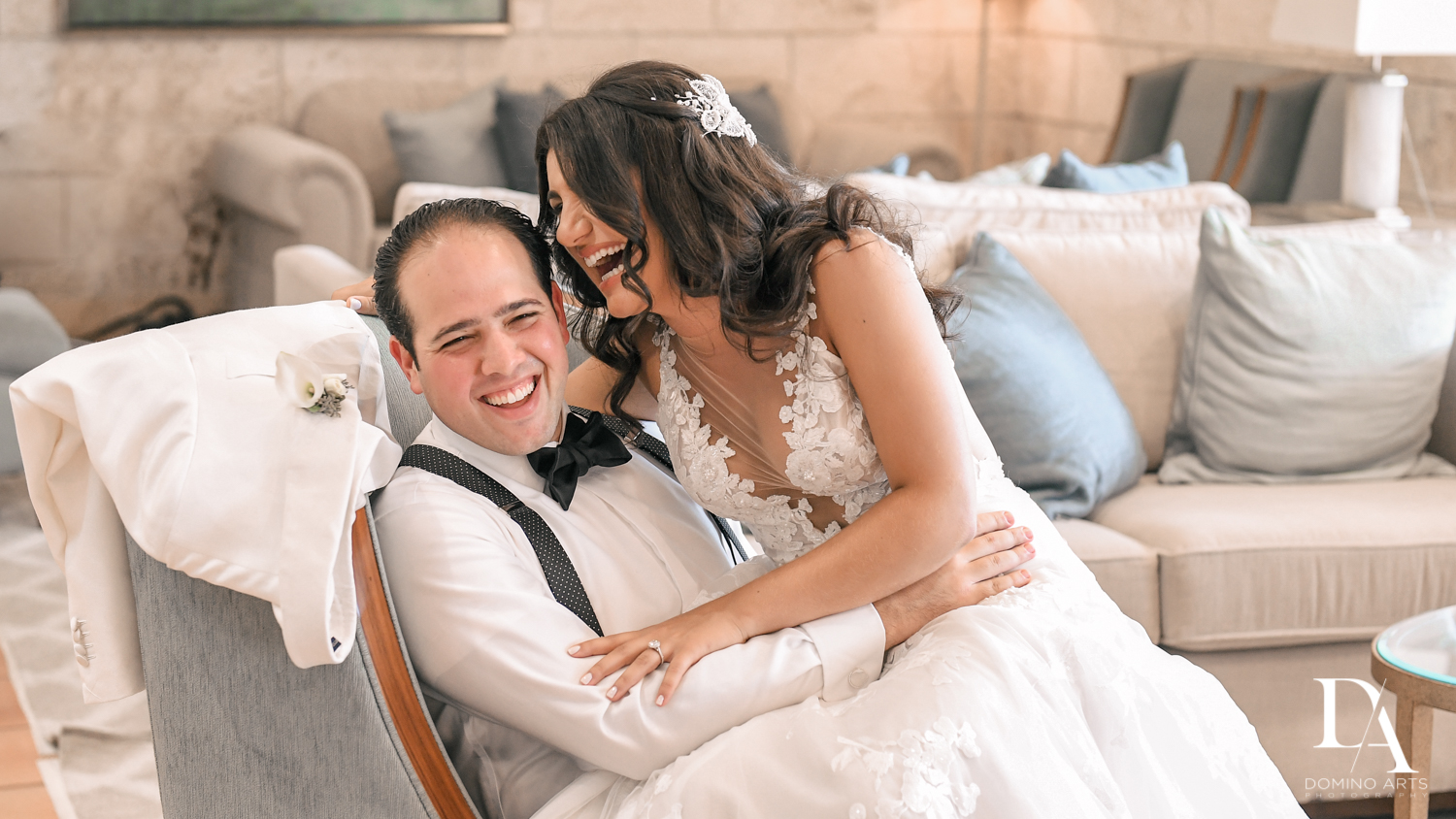 bride and groom laugh at Elegant Classy Wedding at Trump Doral by Domino Arts Photography