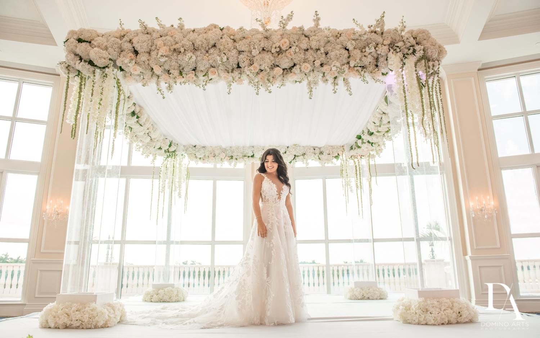 bride and chuppah at Elegant Classy Wedding at Trump Doral by Domino Arts Photography