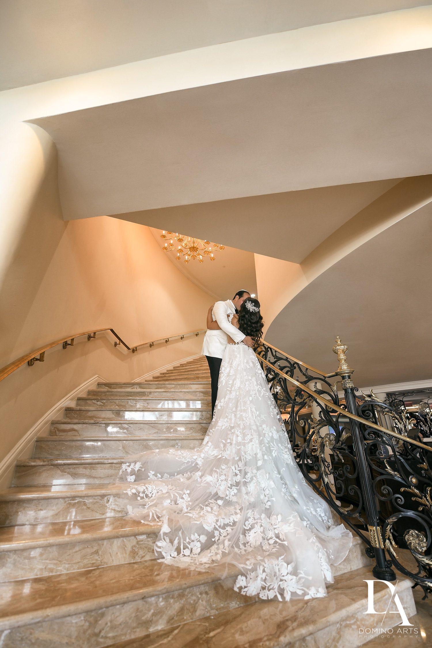staircase at Elegant Classy Wedding at Trump Doral by Domino Arts Photography