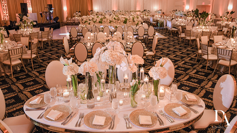 table decor at Elegant Classy Wedding at Trump Doral by Domino Arts Photography