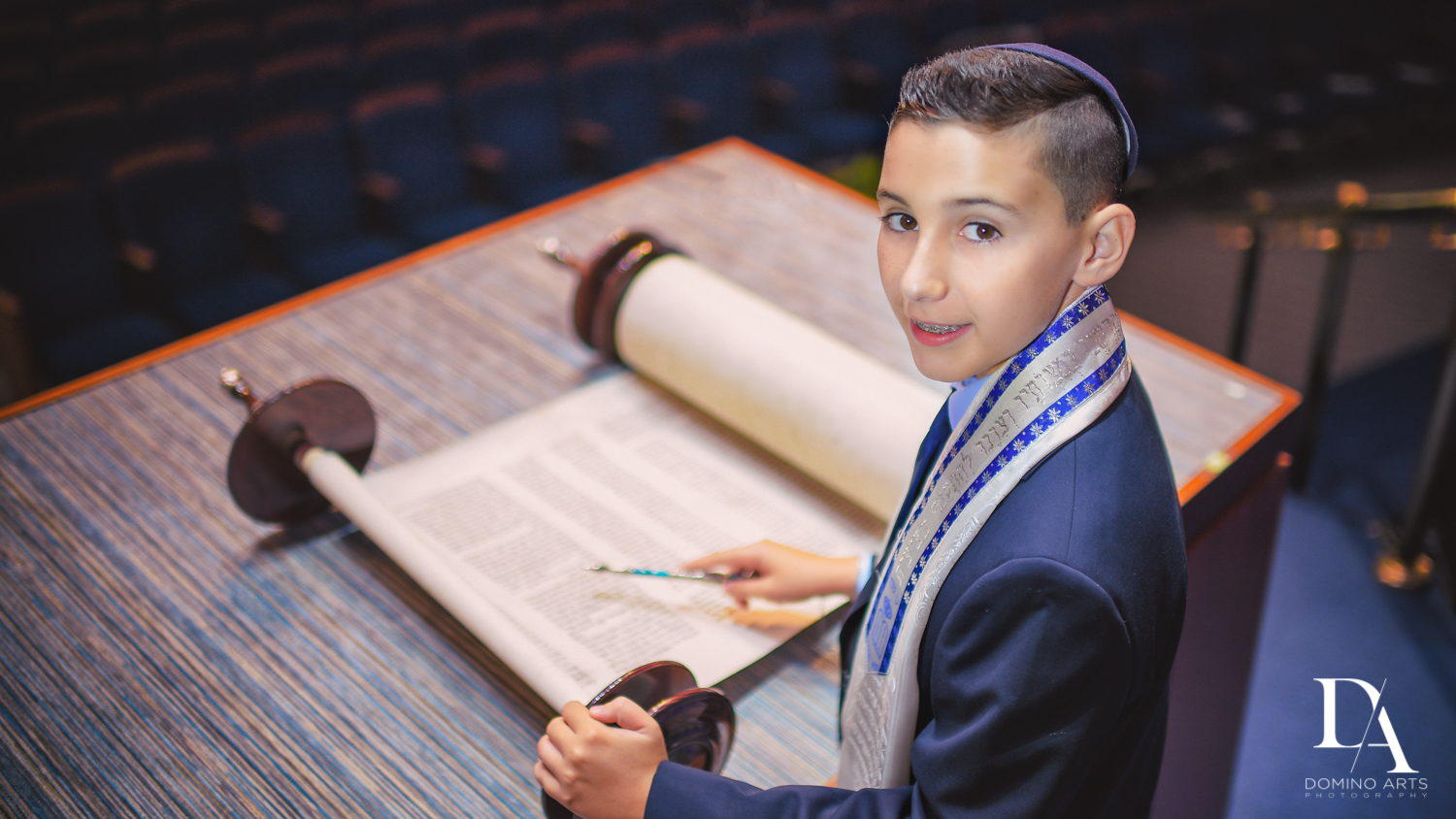 Reading Torah at Sports Theme Bar Mitzvah at BNai Torah Boca