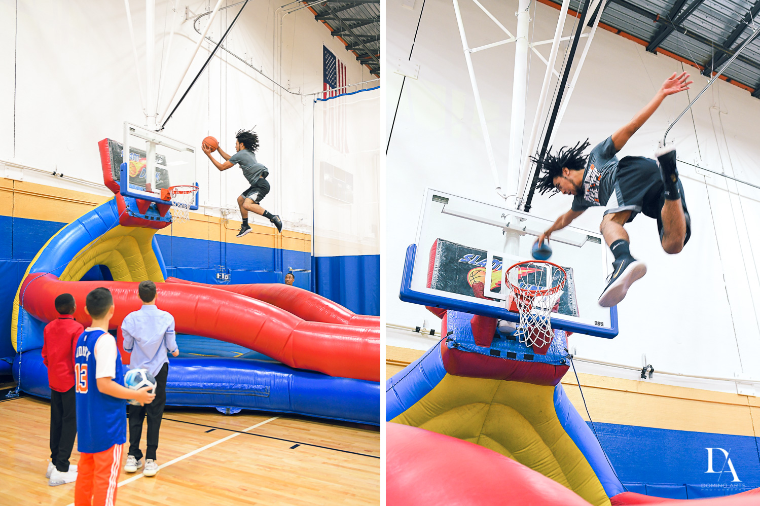 basketball inflatable at Sports Theme Bar Mitzvah at DS Sports Plex by Domino Arts Photography