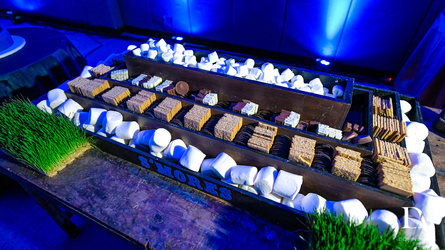 smores table at Sports Theme Bar Mitzvah at DS Sports Plex by Domino Arts Photography
