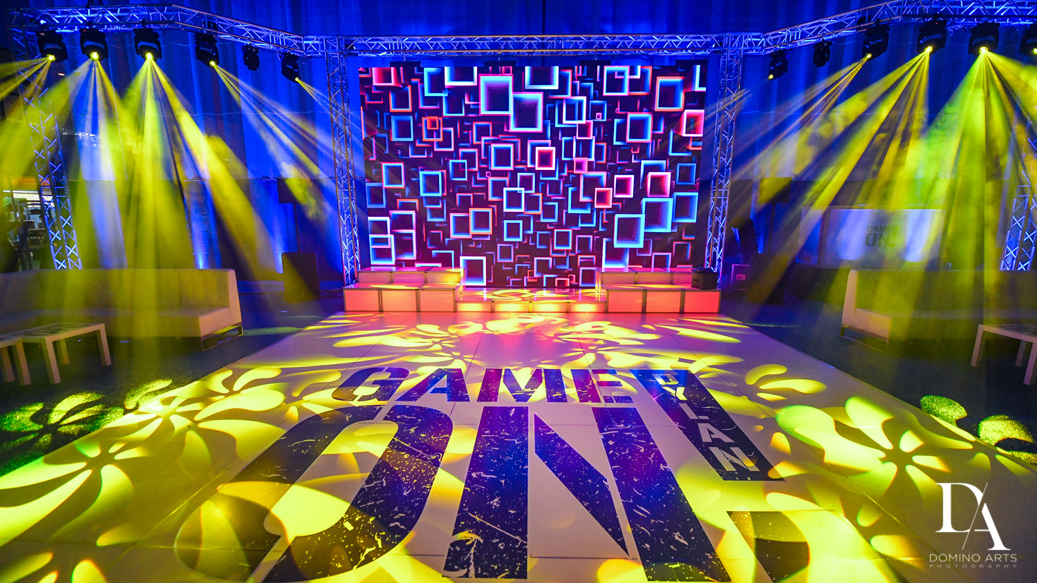 custom dancefloor and best decor at Sports Theme Bar Mitzvah at DS Sports Plex by Domino Arts Photography