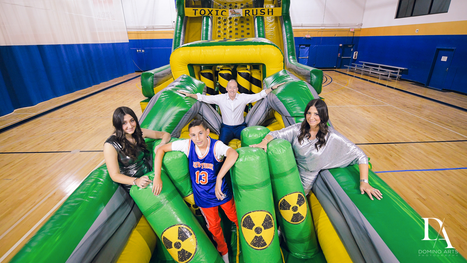 best party inflatables at Sports Theme Bar Mitzvah at DS Sports Plex by Domino Arts Photography