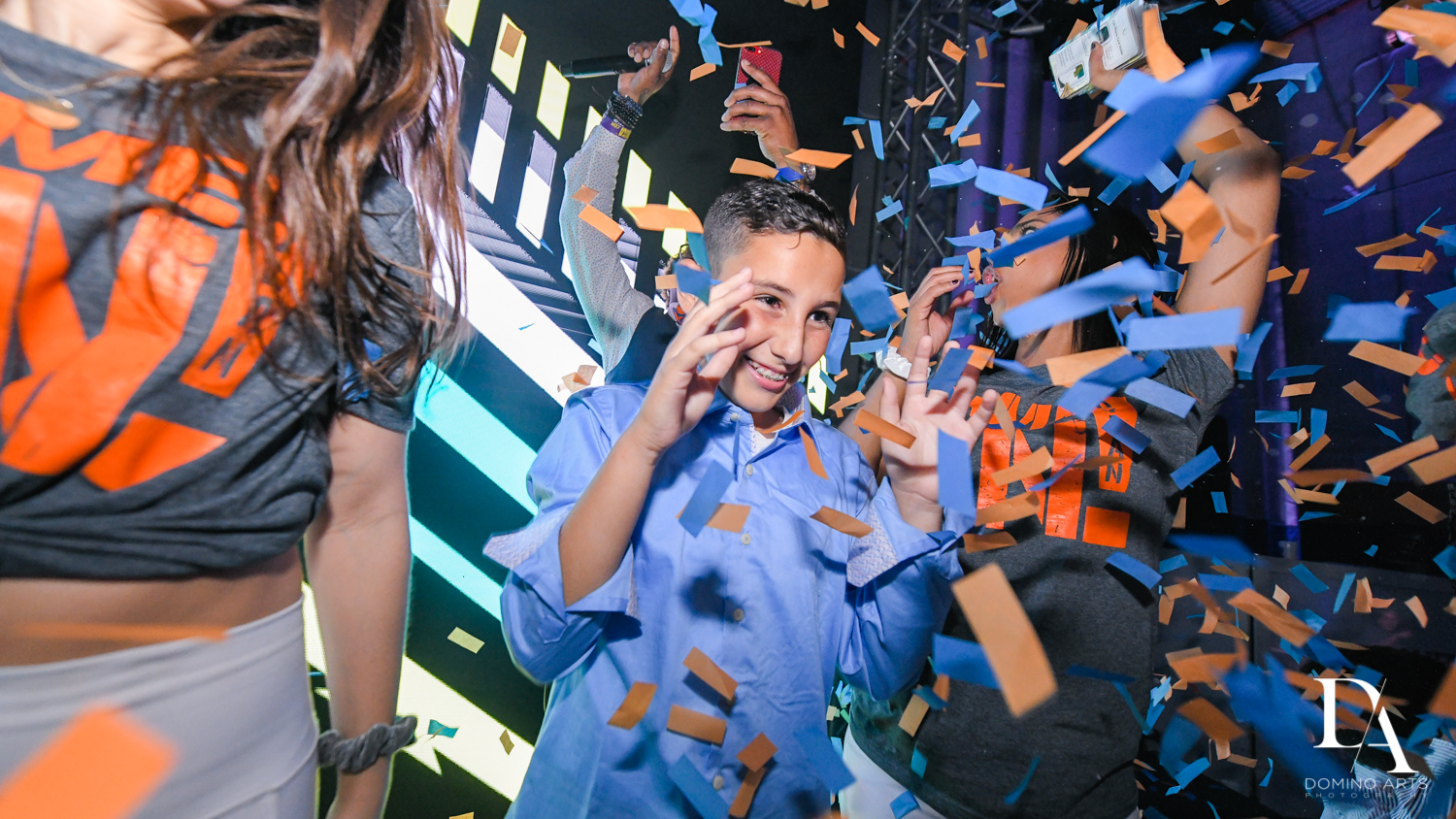 party confetti at Sports Theme Bar Mitzvah at DS Sports Plex by Domino Arts Photography