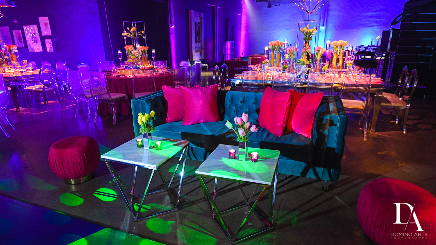 lounge furniture at Colorful B'Not Mitzvah at Gallery of Amazing Things by Domino Arts Photography