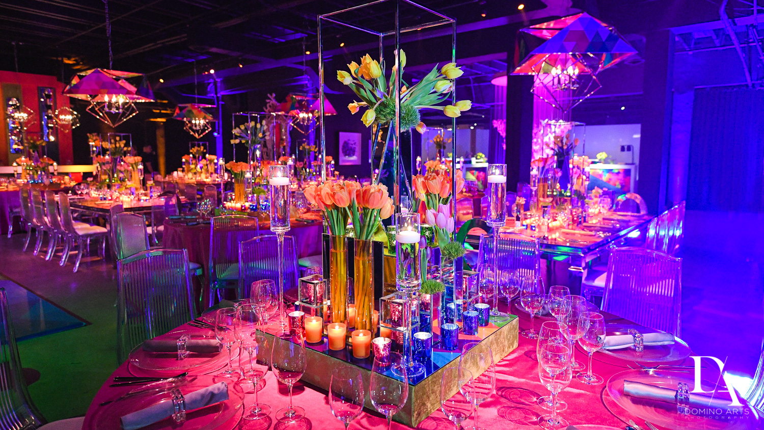 Colorful flowers at B'Not Mitzvah at Gallery of Amazing Things by Domino Arts Photography