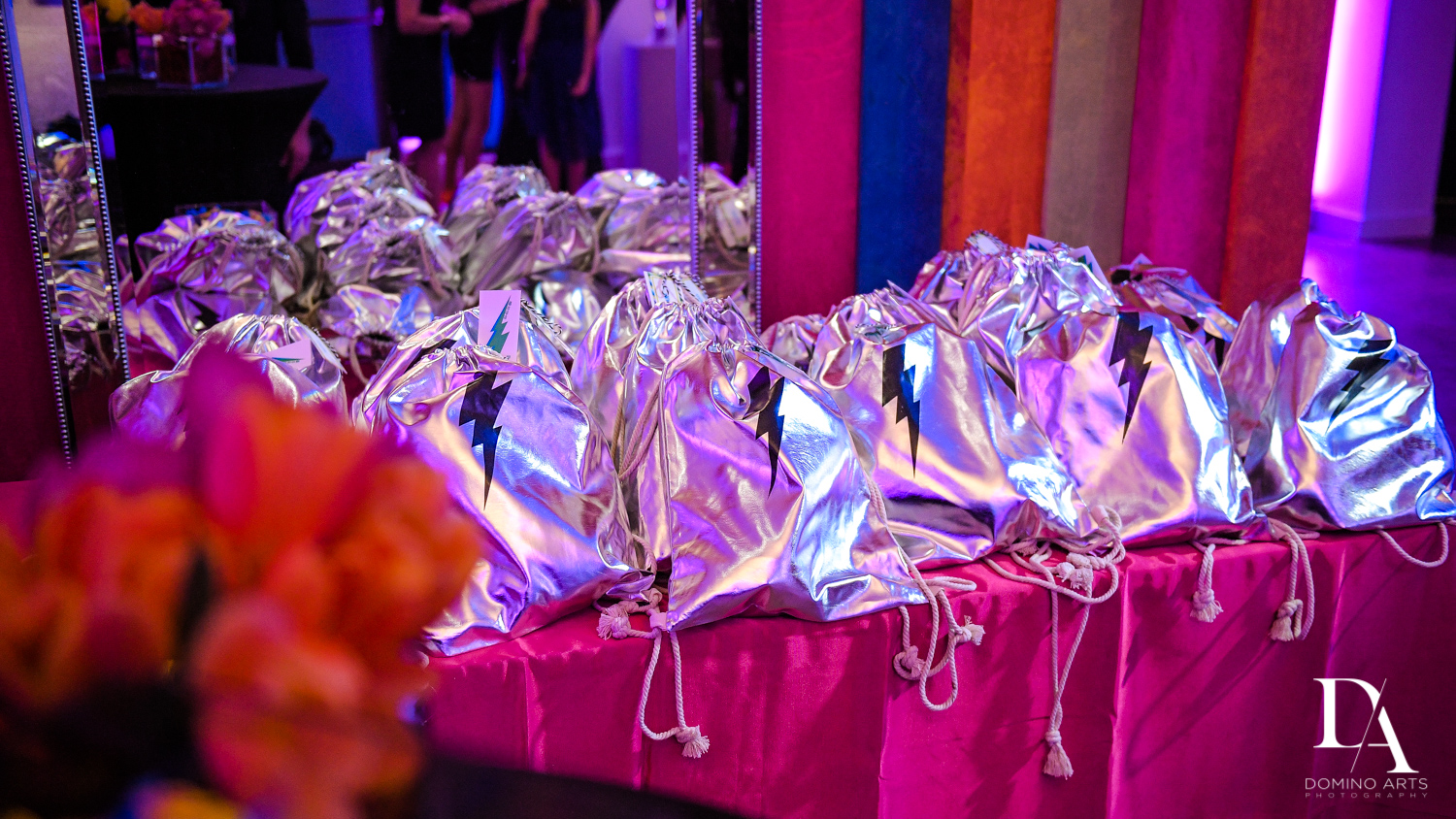 shiny party favors at Colorful B'Not Mitzvah at Gallery of Amazing Things by Domino Arts Photography