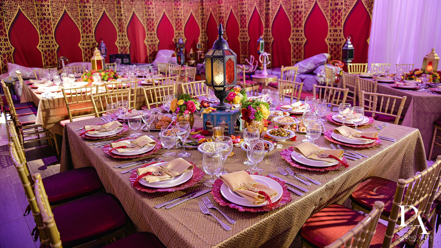 table setting at Authentic Morrocan Jewish Henna Party by Domino Arts Photography