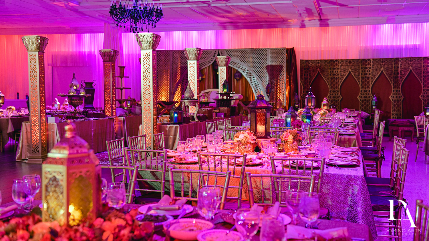 purple decor at Authentic Morrocan Jewish Henna Party by Domino Arts Photography