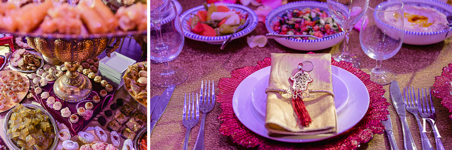 luxury table setting at Authentic Morrocan Jewish Henna Party by Domino Arts Photography