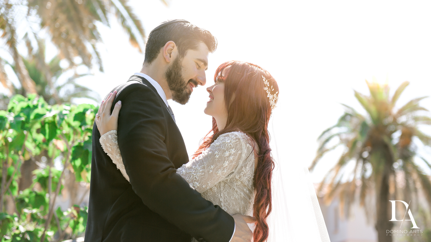 couple at Vintage Garden Wedding at Flagler Museum Palm Beach by Domino Arts Photography