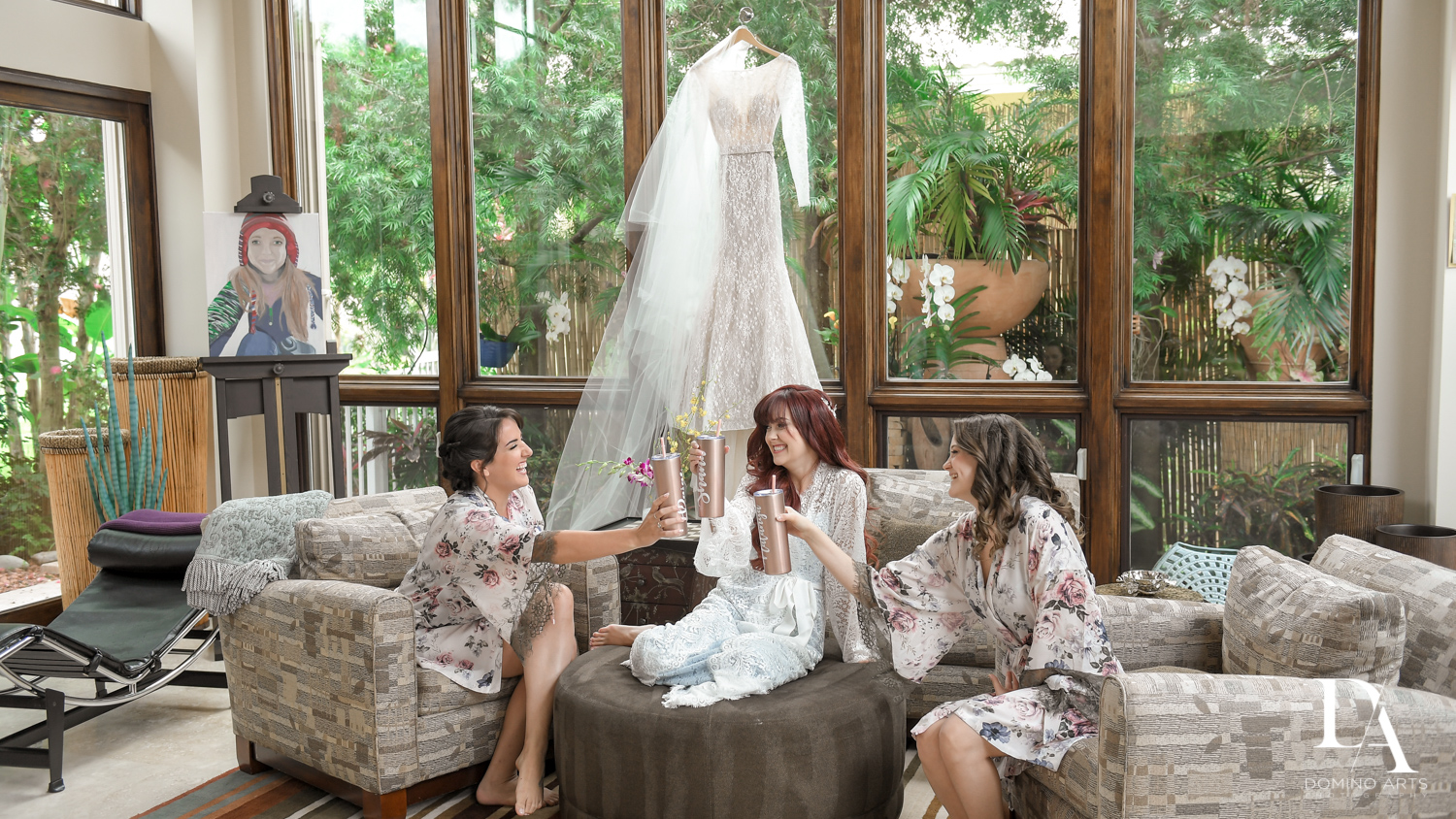 bridesmaids getting ready at Vintage Garden Wedding at Flagler Museum Palm Beach by Domino Arts Photography