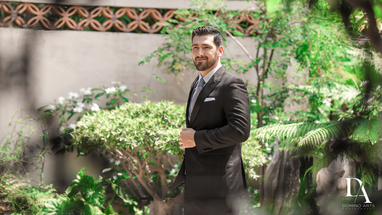 groom portrait at Vintage Garden Wedding at Flagler Museum Palm Beach by Domino Arts Photography