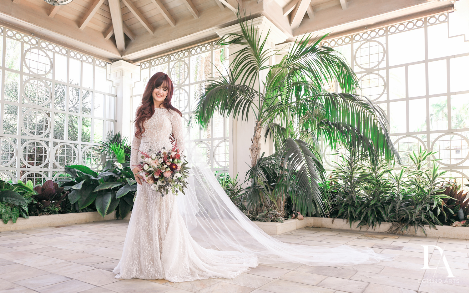 bridal portrait at Vintage Garden Wedding at Flagler Museum Palm Beach by Domino Arts Photography