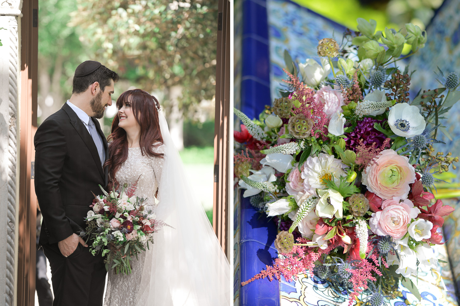 couple and bouquet at Vintage Garden Wedding at Flagler Museum Palm Beach by Domino Arts Photography