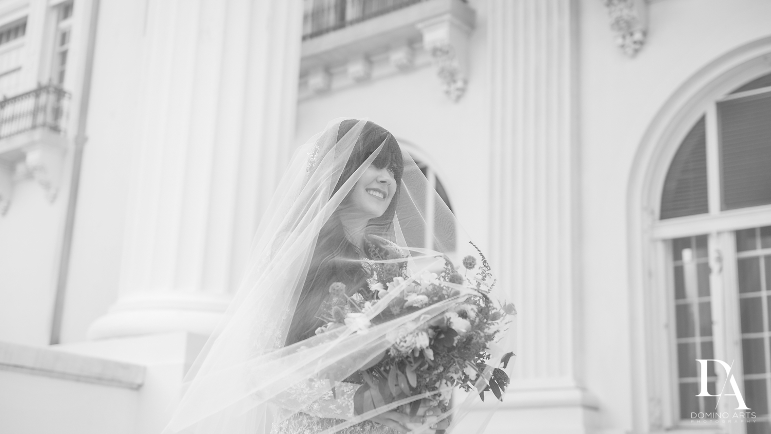 best veil at Vintage Garden Wedding at Flagler Museum Palm Beach by Domino Arts Photography