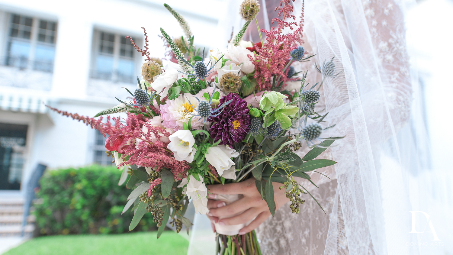 bouquet ideas at Vintage Garden Wedding at Flagler Museum Palm Beach by Domino Arts Photography