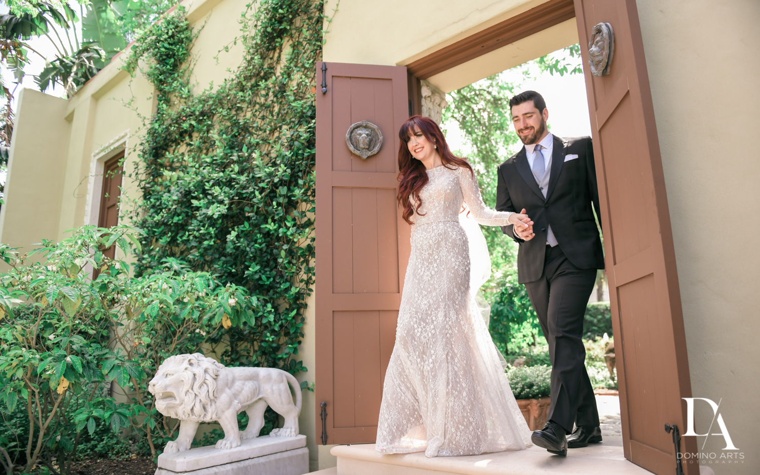 fun photos at Vintage Garden Wedding at Flagler Museum Palm Beach by Domino Arts Photography