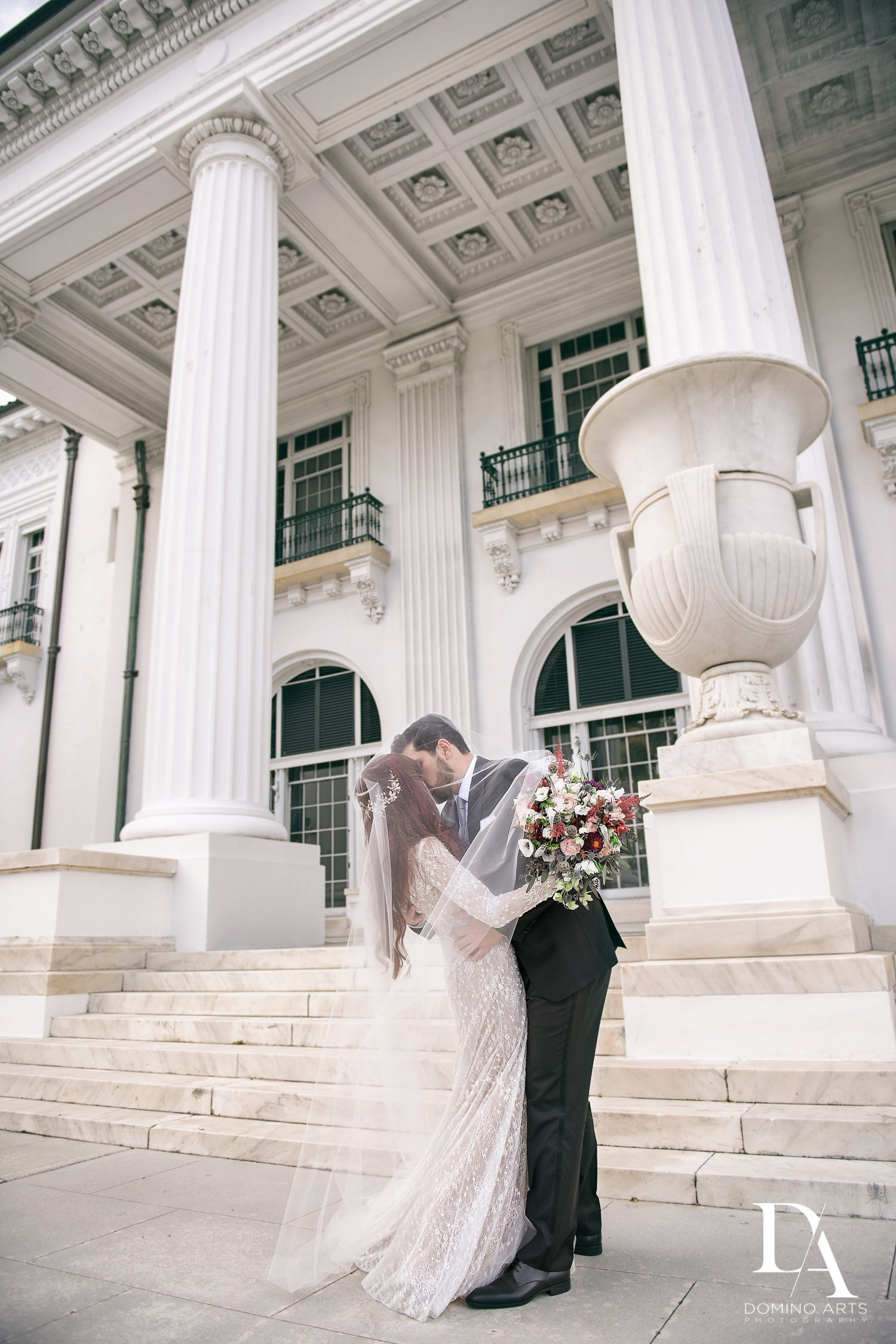 romantic couple at Vintage Garden Wedding at Flagler Museum Palm Beach by Domino Arts Photography
