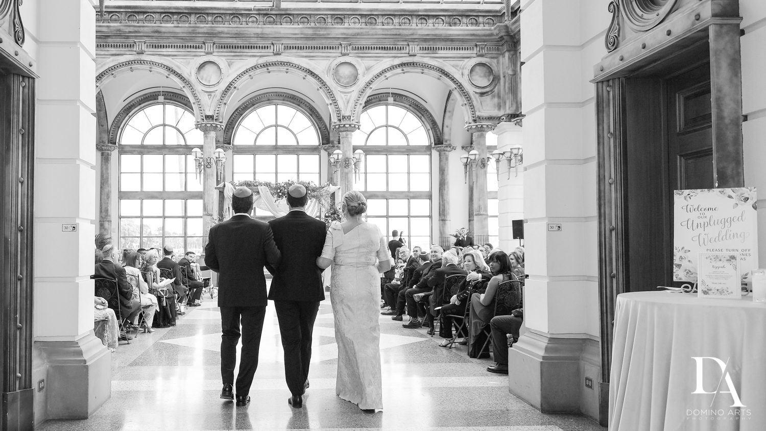 groom with parents at Vintage Garden Wedding at Flagler Museum Palm Beach by Domino Arts Photography