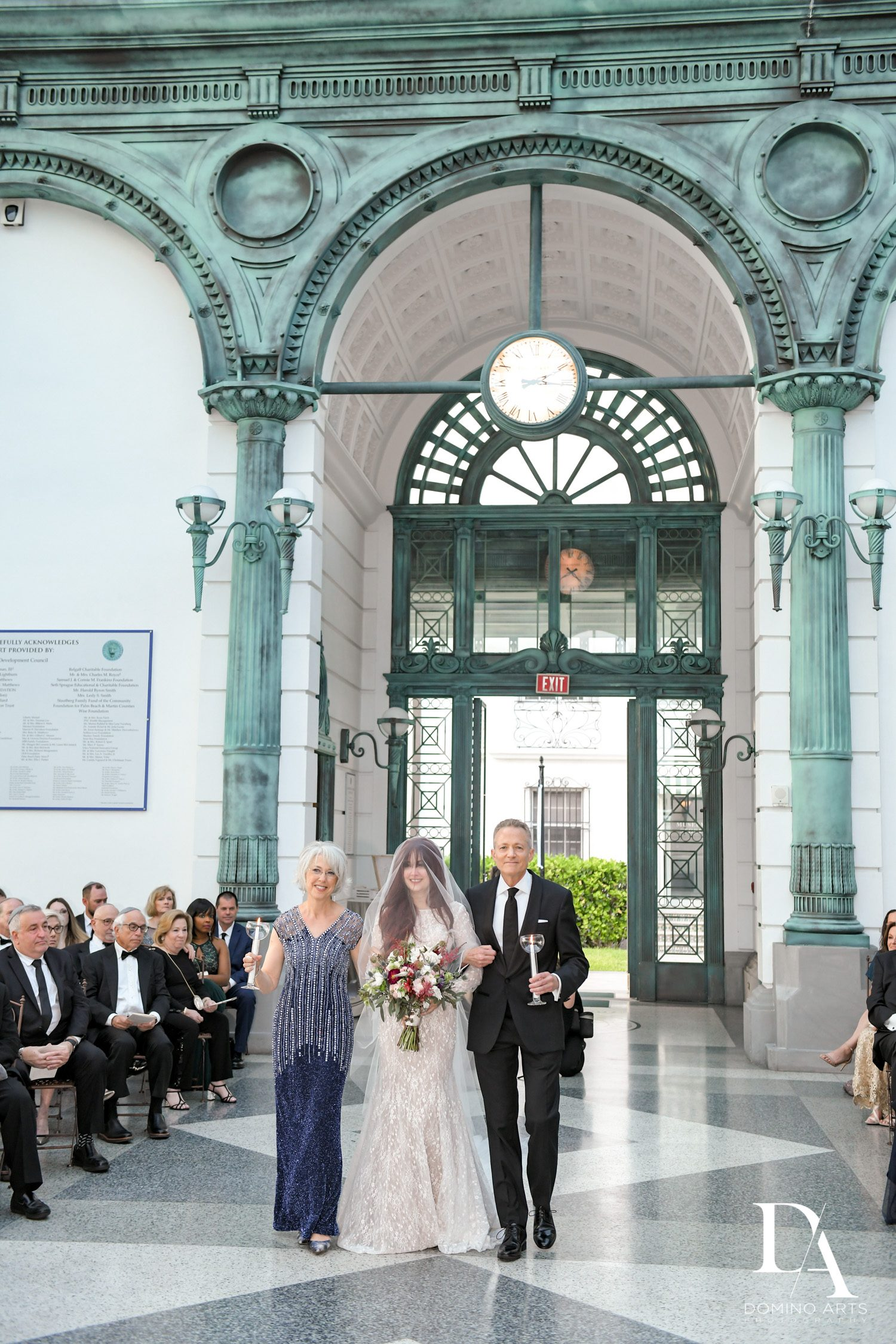 bride walking aisle at Vintage Garden Wedding at Flagler Museum Palm Beach by Domino Arts Photography